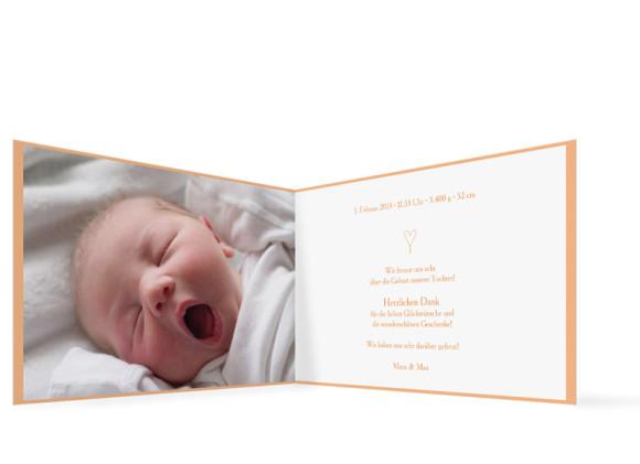 Innenansicht, Klappkarte zur Geburt, Motiv Johanna/Jacob, Farbversion: apricot