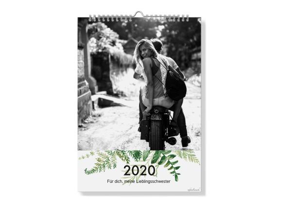 Wandkalender A4 - Spiralbindung, Motiv: Greenery, Innenansicht, Farbvariante: schwarz