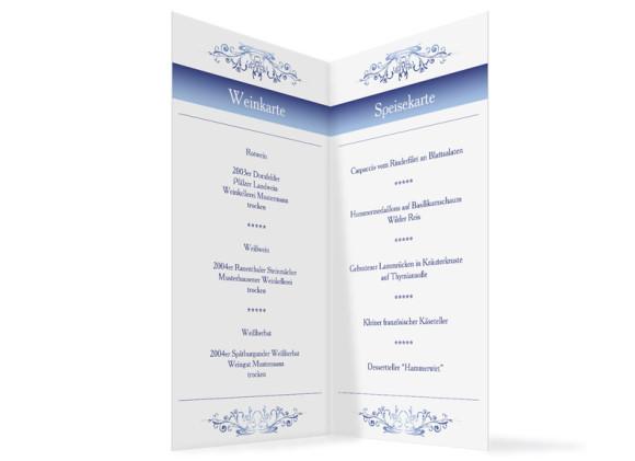 Innenansicht, Menükarte zur Hochzeit (Klappkarte), Motiv Mailand, Farbversion: blau