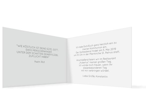 Einladung Kommunion (Klappkarte C6 quer mit Foto), Motiv: Ausblick, Innenansicht, Farbvariante: grau