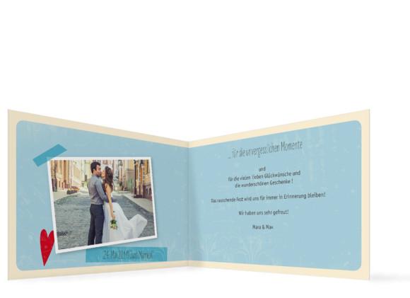 Hochzeitsdanksagung, Vintage Heart, Innenansicht, Farbversion: