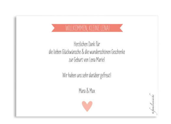 Geburtskarte Lena/Lars, Postkarte C6, Rückseite, Farbvariante: apricot