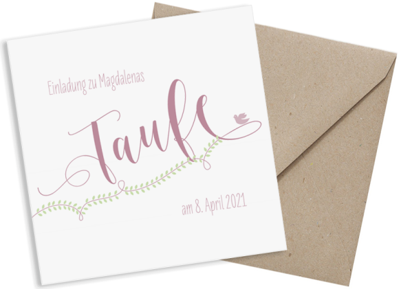 Einladung zur Taufe (quadratische Postkarte), Motiv: Lorbeerblatt, mit Briefhülle, Farbvariante: altrosa