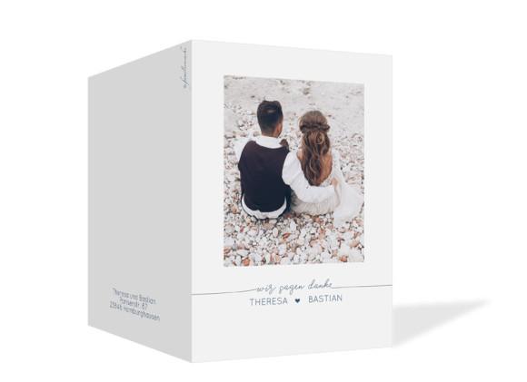 Danksagung zur Hochzeit (Klappkarte A6), Motiv: Warschau, Aussenansicht, Farbvariante: Dunkelblau