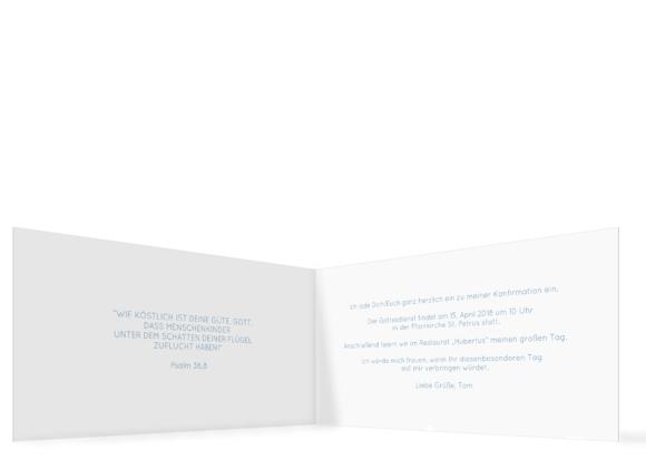 Konfirmationseinladung (Klappkarte mit Fotos), Motiv: Ziel, Innenansicht, Farbvariante: blau-tuerkis