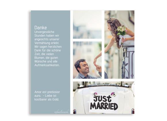 Danksagungskarten Boxes zur Hochzeit, Rückseite in Petrol