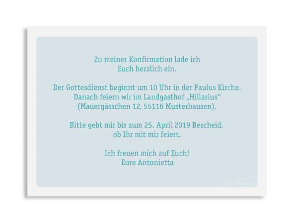 Konfirmationseinladung (Postkarte mit Foto), Motiv: Lucia / Luca, Rückseite, Farbvariante: eisblau