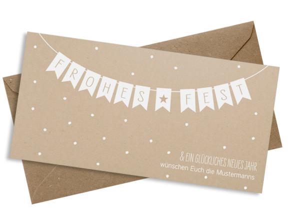 Weihnachtspostkarte Weihnachtskette DIN Lang in weiß
