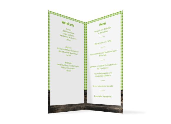 Innenansicht, Menükarte zur Hochzeit (Klappkarte), Motiv Alpenglühen, Farbversion: gruen