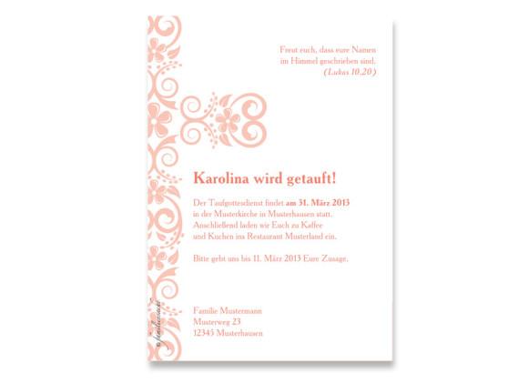 Rückseite, Postkarte zur Taufe, Motiv Karolina/Karell, Farbversion: apricot