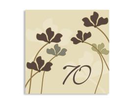 Geburtstagseinladung Growing zum 70. (quad. Postkarte) Beige