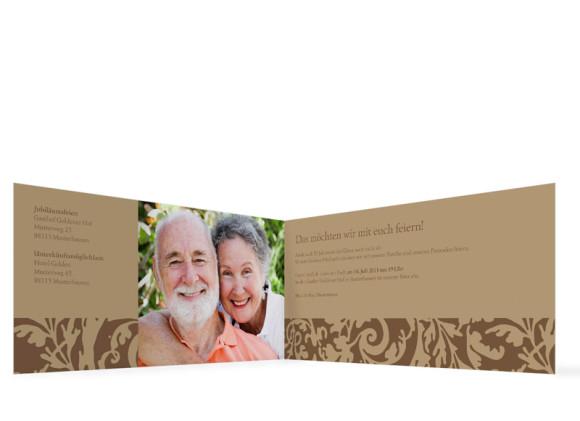Innenansicht, Einladungs-Klappkarte zur Goldenen Hochzeit (Format DIN Lang), Motiv Rokko, Farbversion: beige/braun