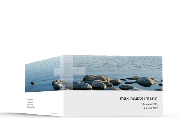 Außenansicht, Trauerkarte Motiv Steine, Farbversion: blau/weiß