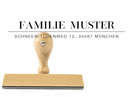 """Familien-Stempel """"München"""" (rechteckiger Holzstempel), ca. 105 x 20 mm"""