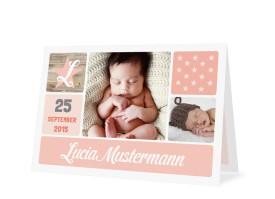 Geburtskarte Lucia/Luca Apricot