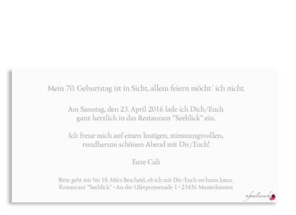 Einladungskarte Calligraphy 70, Postkarte DL, Rückseite, Farbversion: Taupe