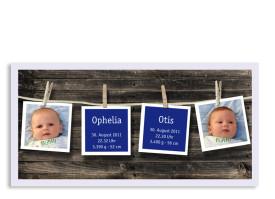 Zwillingskarte Ophelia/Otis (Postkarte, mit 2 Fotos) Blau