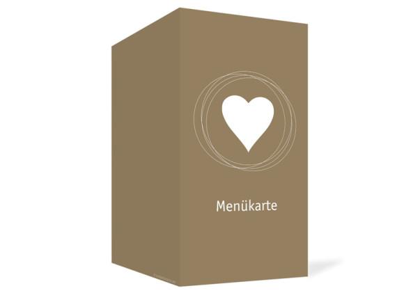 Außenansicht, Menükarte zur Hochzeit (Klappkarte), Motiv Pur, Farbversion: beige-weiss
