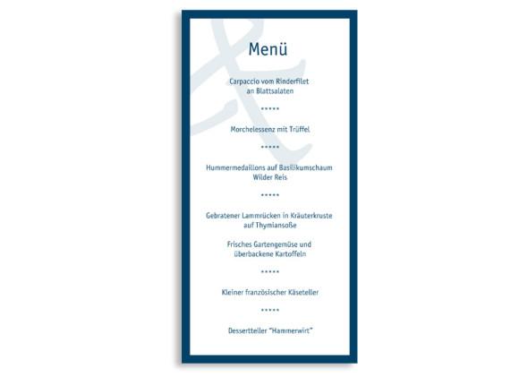 Rückseite, Menükarte zur Hochzeit (DIN Lang-Karte, zweiseitig), Motiv Bern, Farbversion: blau