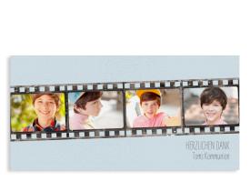 "Danksagung Kommunion ""Weg"" (Postkarte DL mit Fotos) hellblau"