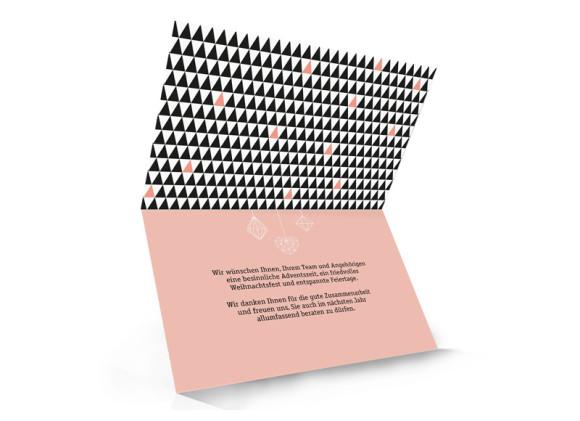 Business-Weihnachtskarte Origami (mit Logo), Innenansicht: apricot