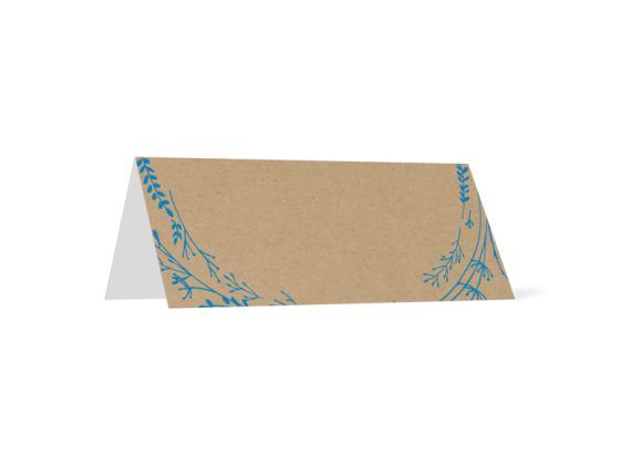 Tischkarten (personalisiert), Motiv: Blumenkranz natural (TK), Rückseite, Farbvariante: blau