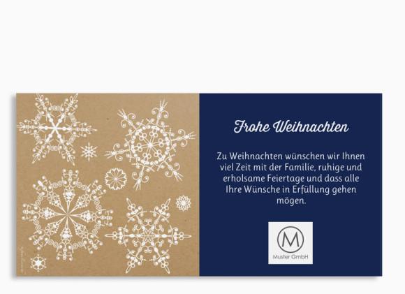 Firmen-Weihnachtskarte Geometrics (Postkarte), Rückansicht in dunkelblau