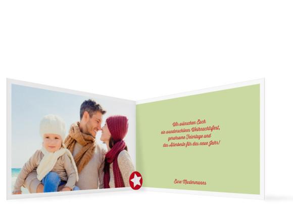Weihnachtskarte Weihnachtsstern, Innenansicht, Farbvariante: grün