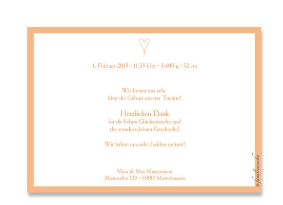 Rückseite, Postkarte zur Geburt, Motiv Johanna/Jacob, Farbversion: apricot
