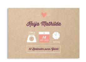 Babykarte Kaija/Kasper (Postkarte A6) Brombeer/Apricot