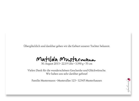 Rückseite, Postkarte zur Geburt, Motiv Fotokarte, Farbversion: weiß