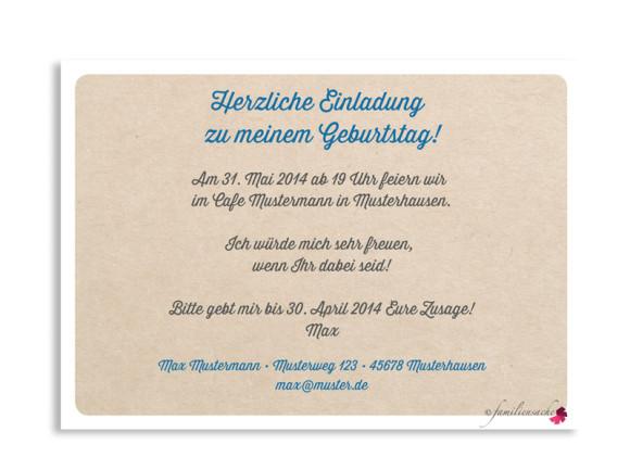 Einladungskarten, Motiv Wimpel, Rückseite, Farbversion: blau/grün