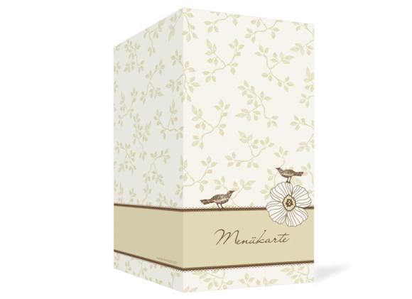 Aussenansicht, Menükarte zur Hochzeit (Klappkarte), Motiv Oxford, Farbversion: beige-braun