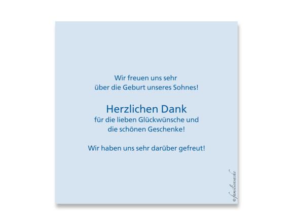 Rückseite, Postkarte zur Geburt, Motiv Luise/Laurin, Farbversion: blau