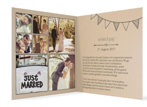 Danksagungskarte zur Hochzeit, Motiv: Timeline Cute, Farbe: dunkelgrau, Ansicht: innen