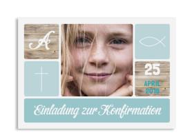 "Konfirmationseinladung ""Lucia / Luca"" (Postkarte mit Foto) eisblau"