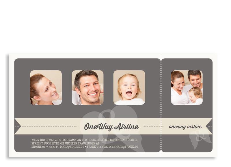 Einladungen zur Hochzeit online gestalten: Flugticket