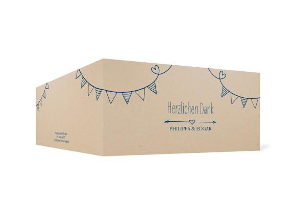Danksagungskarte zur Hochzeit, Motiv: TImeline Cute, Farbe: Dunkelblau, Ansicht: außen