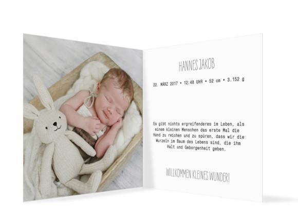 Geburtskarte Fotokarte, Innenansicht