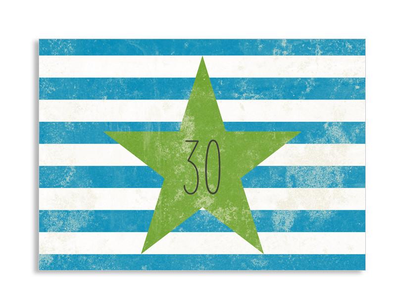 einladungen zum 30. vintage star als postkarte selbst gestalten, Einladung