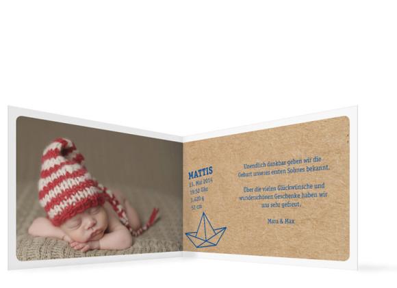 Geburtskarten Mira/Mattis, Innenansicht der Farbversion: dunkelblau