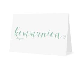 Einladungskarten zur Kommunion Calligraphy Pistazie