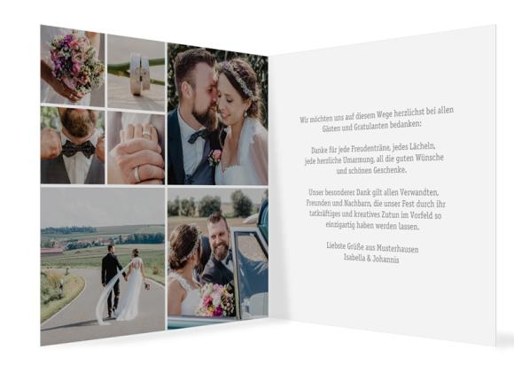 Danksagungskarten Hochzeit (Klappkarte quadratisch mit vielen Fotos), Motiv: Gent Pure, Innenansicht, Farbvariante: grau