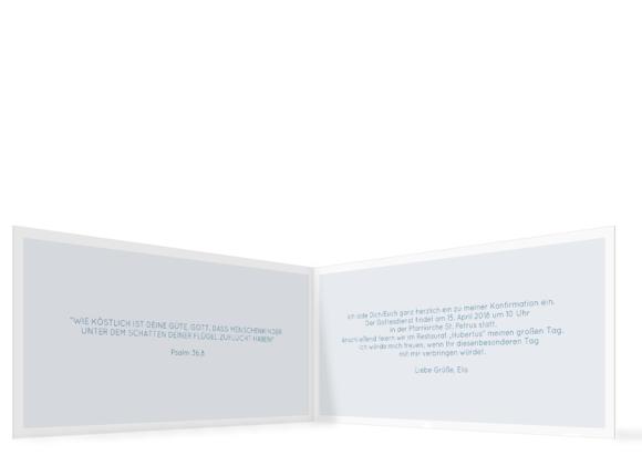 Klappkarte mit zwei Fotos, Motiv: Bedeutung, Innenansicht, Farbvariante: dunkelblau