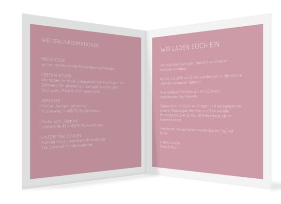 Einladungskarten Hochzeit (quadratische Klappkarte, ohne Foto), Motiv: HE Salzburg, Innenansicht, Farbvariante: altrosa