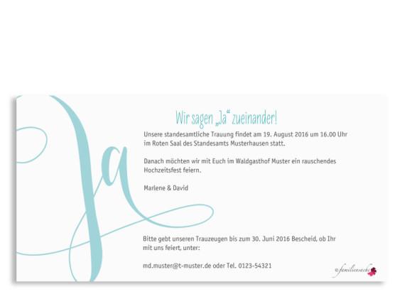 Hochzeitseinladung Cannes, Postkarte DIN Lang, Rückseite, Farbversion: türkis