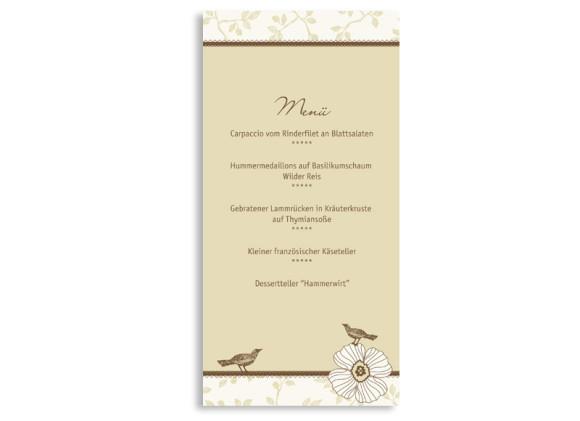 Rückseite, Menükarte zur Hochzeit (DIN Lang-Karte, zweiseitig), Motiv Oxford, Farbversion: beige-braun