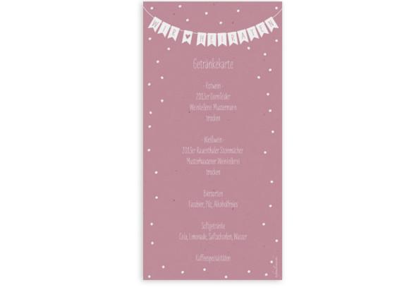 Menükarte zur Hochzeit Wimpelkette (Postkarte DL)
