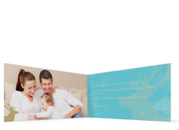 Weihnachtskarte HolyMoose (Klappkarte, DL), Innenansicht in der Farbvariante: blau