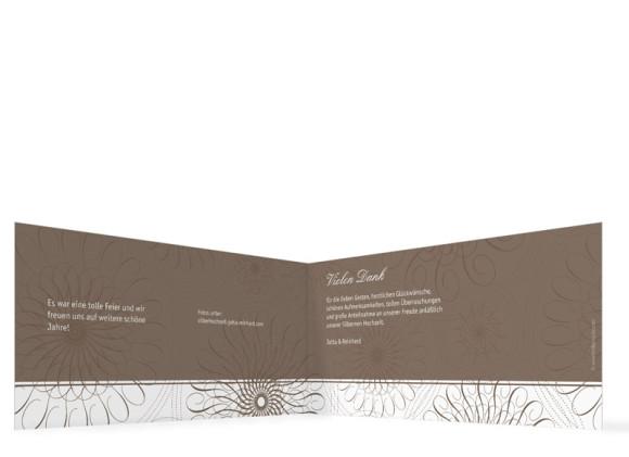 Danksagung Silberne Hochzeit, Motiv Mandala (Klappkarte DL quer, ohne Foto), Innenansicht, Farbversion: beige